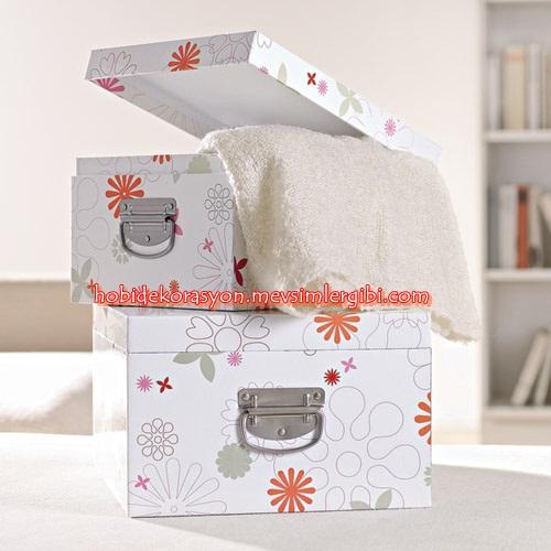 tchibo dolap içi düzenleyici dekoratif kuşe kağıttan şık kutu seti