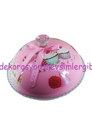 el yapımı cupcake desenli pasta fanusu
