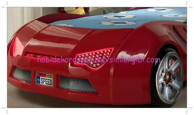 speed kırmızı farları yanan araba karyola 2014 farı yanan ışıklı araba karyola modelleri
