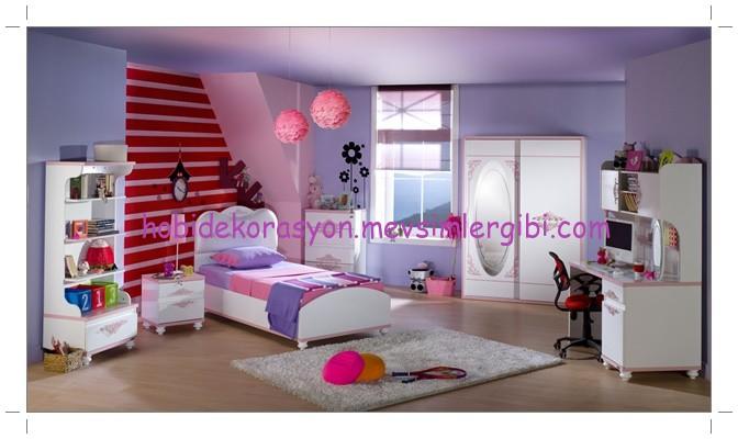 istikbal mobilya pembe fuşya lila rengi diana genç kokoş kızımın odası takımı