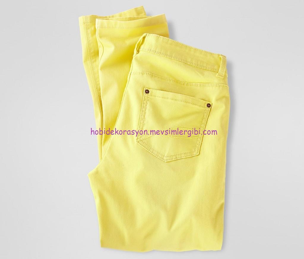 tchico açık sarı eskitilmiş slim-fit pantolon